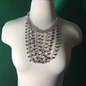 Cascading statement necklace pink black